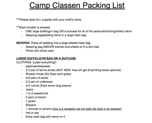 Camp Classen Packing List