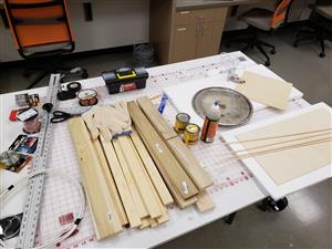An array of carpentry tools in a makerspace.