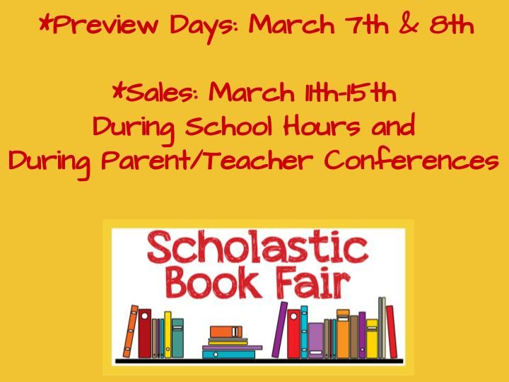 We are gearing up for our Spring Scholastic Book Fair!  Look for flyers to be sent home in Thursday folders soon.