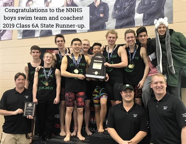Congratulations to the NNHS boys swim team and coaches! 2019  Class 6A State Runner-up.